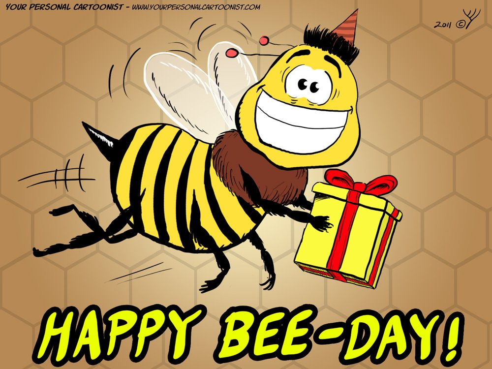 cartoon of a birthday bee wearing a party hat and holding a wrapped ...