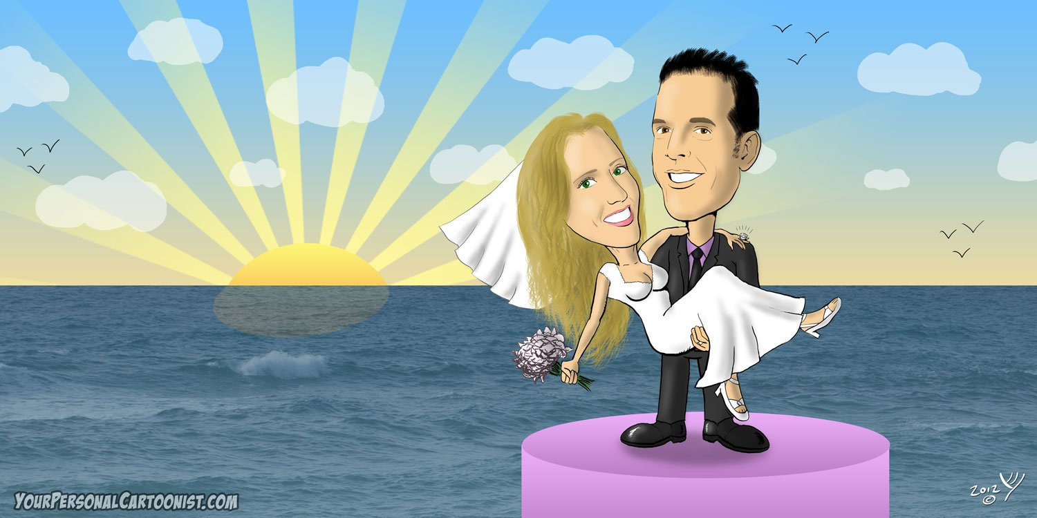 Wedding Caricature - Romantic Ocean Sunset Setting