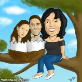 Family Caricature - Mother With Children Who Won't Leave The Nest