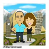 Family Caricature - Parents Travelling Around The World