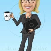 Caricature for Website - Business Woman Holding a Laptop and Cup of Coffee