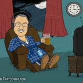 Personal Birthday Gift - Caricature of Grandfather Drinking Tea in Living Room