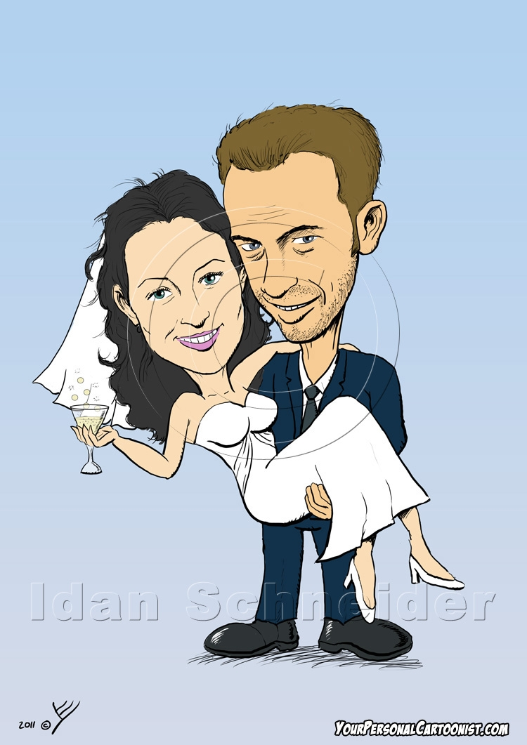 Wedding Caricature - Groom Holding Bride