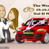 Wedding Caricature - Bride and Groom With Their 4 By 4 Car