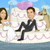 Wedding Caricature - Bride and Groom with Floating Wedding Cake