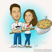 Wedding Caricature - Pizza Wedding Proposal