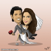 Wedding Caricature - Bride Holding Groom