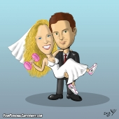 Wedding Caricature - Groom Holding Sporty Bride