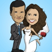 Wedding Caricature - Groom Hugging Bride
