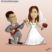 Wedding Caricature - Groom Plays the Guitar