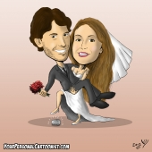 Jewish Wedding Caricature - Bride Carrying Groom