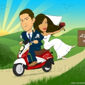 Wedding Caricature - Bride and Groom Riding a Scooter with Hills in Background