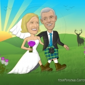 Wedding Caricature - Scottish Hills