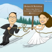 Wedding Caricature - Bride and Groom Skiing