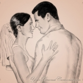 Wedding Illustration - Bride and Groom - Classical Sketch