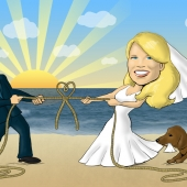 Wedding Caricature - Tug o\' War - Tying the Knot