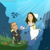 Wedding Caricature - Under The Sea