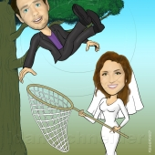 Wedding Caricature - Bride Catching Groom Falling Off Tree
