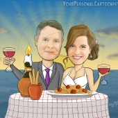 Wedding Caricature - Romantic Italian Honeymoon Dinner with Sunset in Background
