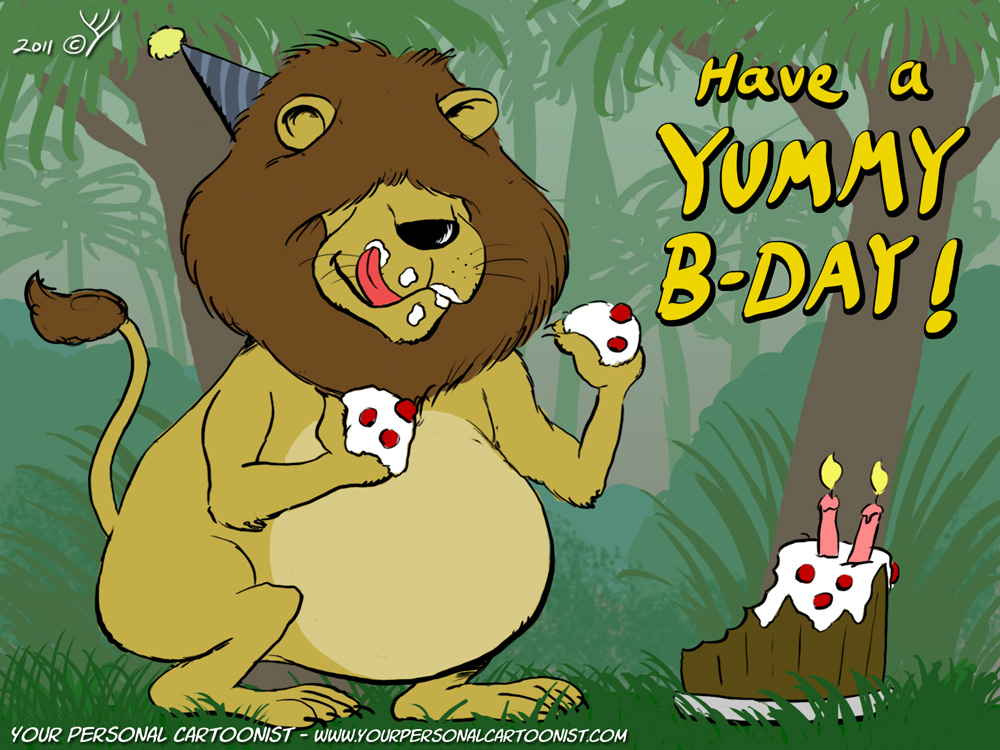 Lion Eating Birthday Cake - Birthday Clip Art