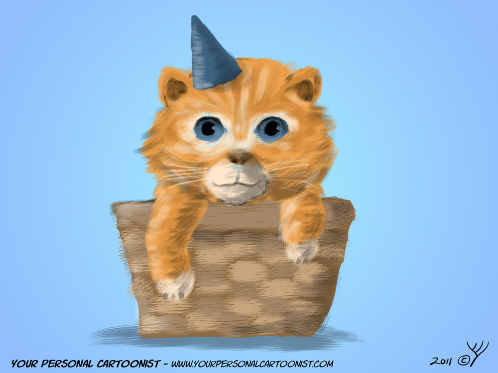 Birthday Kitten in a Basket Clipart