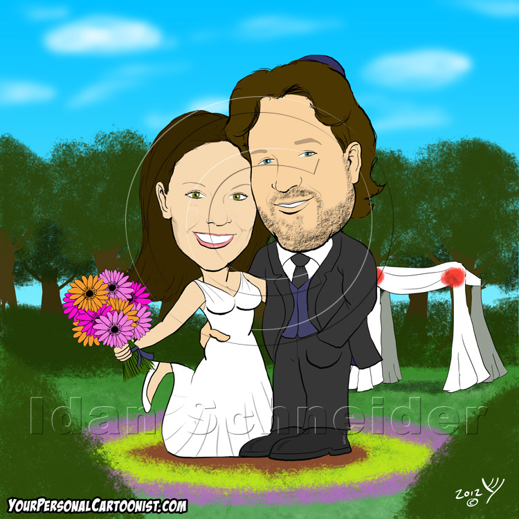 Jewish Wedding Caricature - Chuppah in Flower Garden
