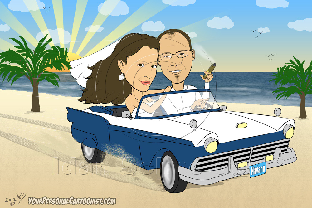 Bride and Groom Driving an Antique Car on the Beach - Wedding Caricatures