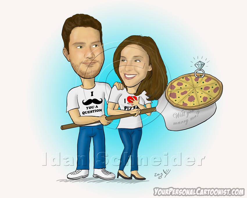 Funny Wedding Proposal with Pizza - Caricature
