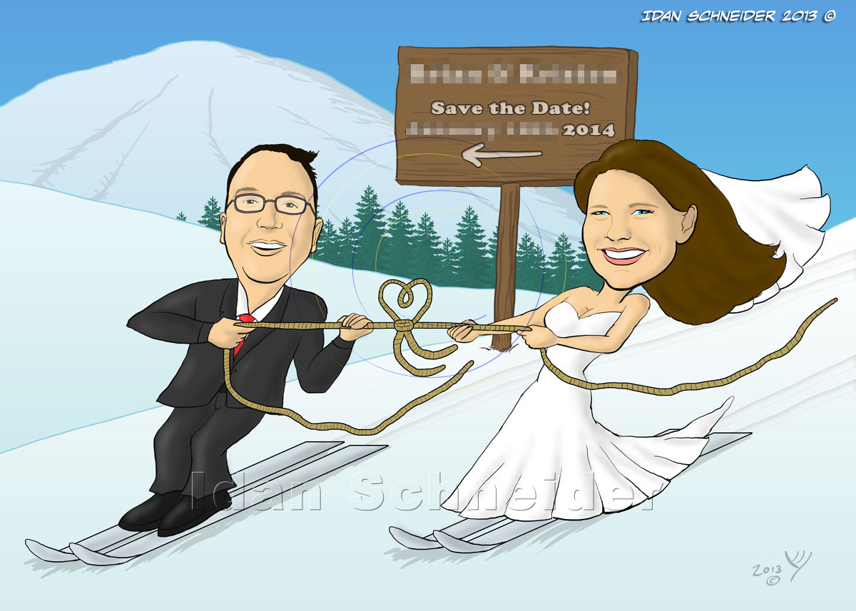 Bride and Groom Skiing - Funny Wedding Invitations