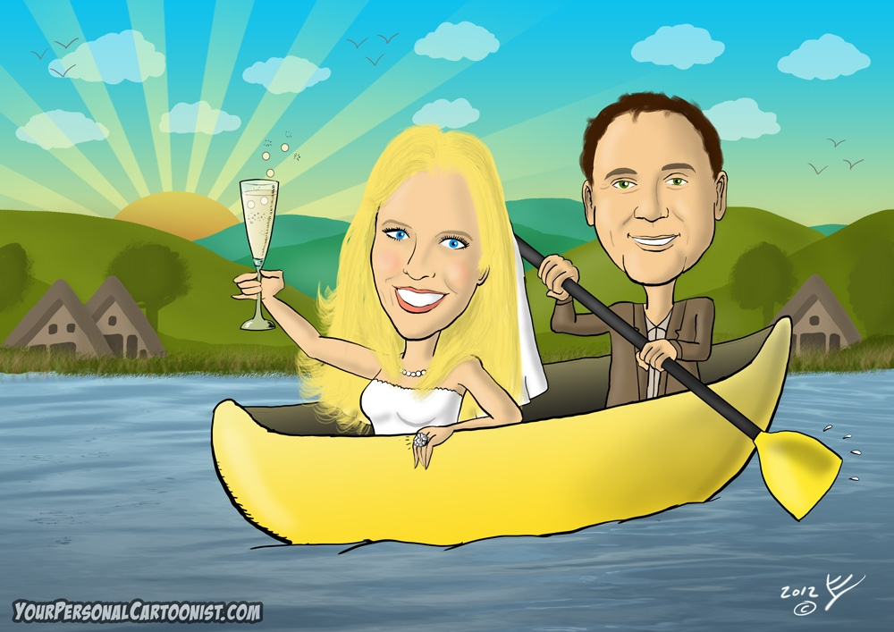 Wedding Caricature - Bride and Groom in a Canoe