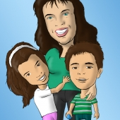 Family Caricature - Mother and Two Small Children