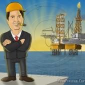 Business Caricature - Oil Industry Tycoon with Oil Platform