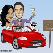 Wedding Caricature - Driving a Sports Car