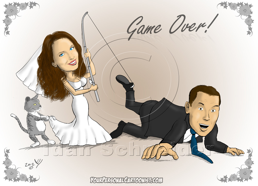 Wedding Caricature - Bride Catches Groom With Fishing Pole