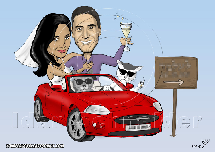 Funny Wedding Invitation - Bride and Groom in Sports Car with Gangster Cats