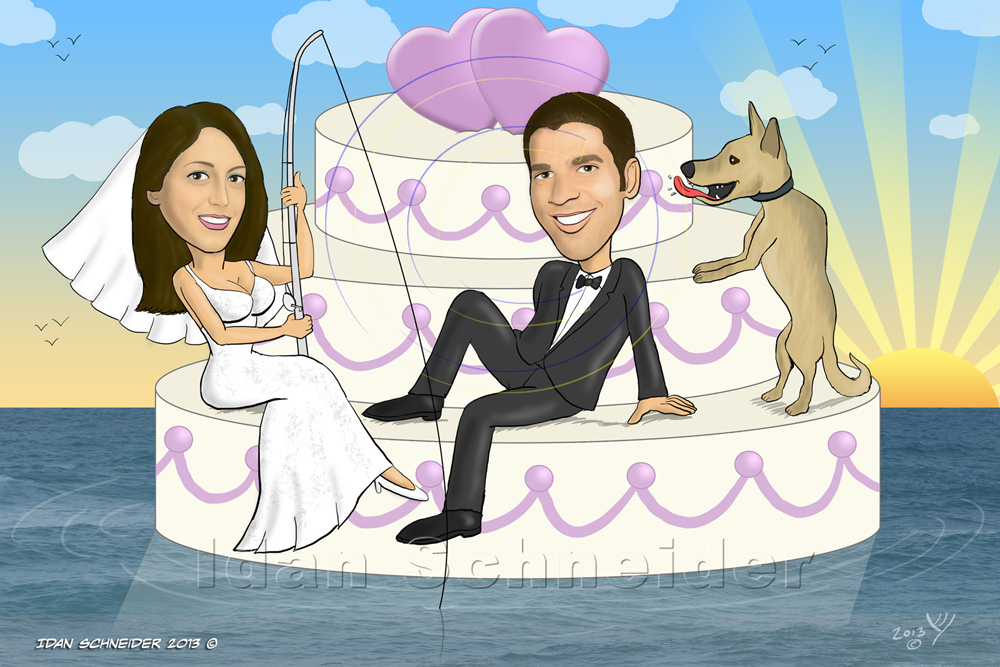 Wedding Caricature - Floating Wedding Cake